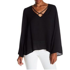📦 Lush Black Criss-Cross Bell Sleeve Blouse Small